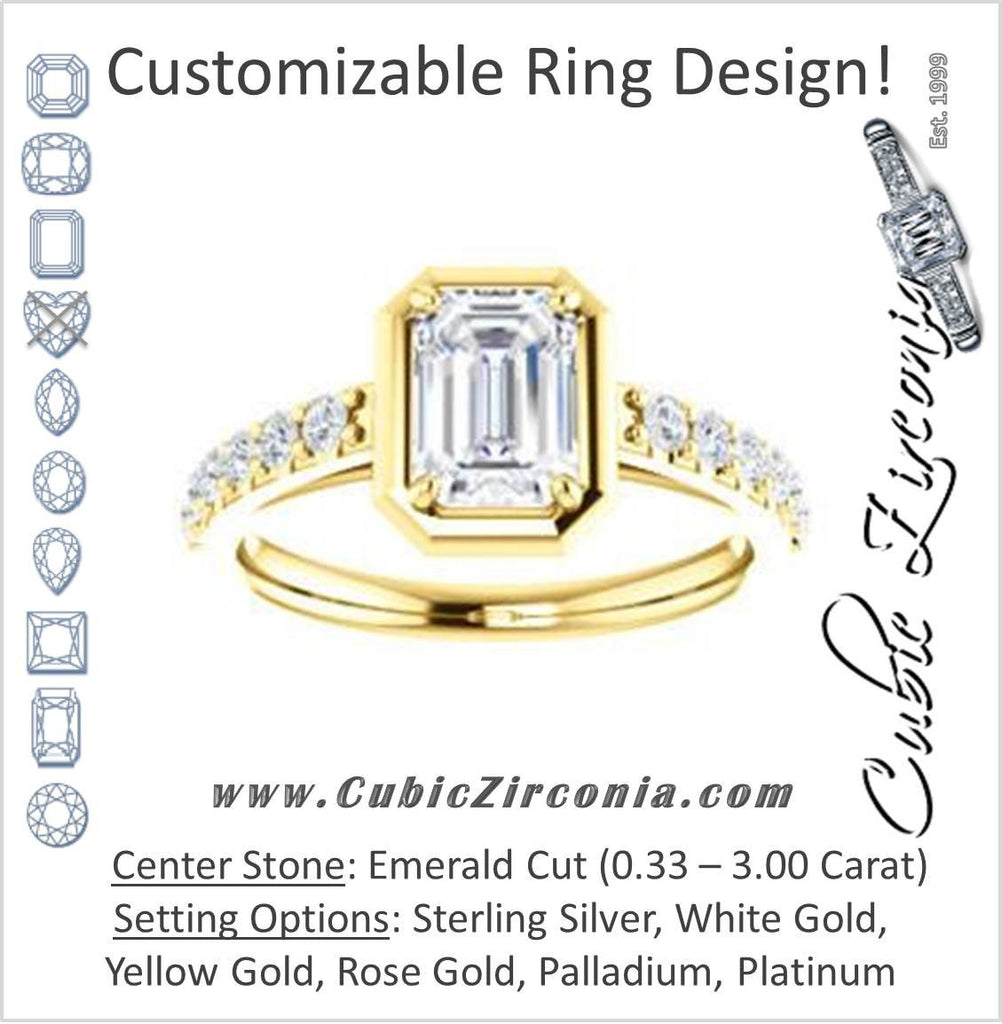 Cubic Zirconia Engagement Ring- The Lynette (Customizable Cathedral-style Bezel-set Emerald Cut 13-stone Design with Round Band Accents)