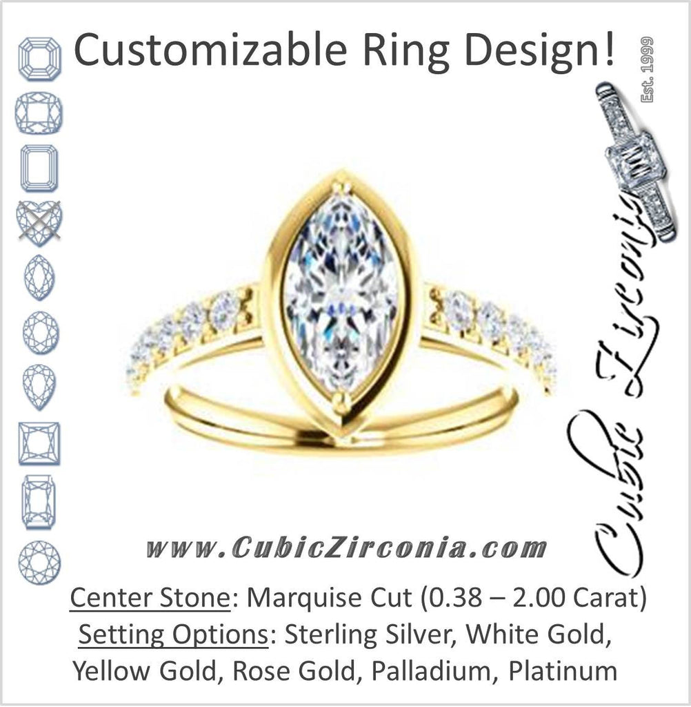 Cubic Zirconia Engagement Ring- The Lynette (Customizable Cathedral-style Bezel-set Marquise Cut 13-stone Design with Round Band Accents)