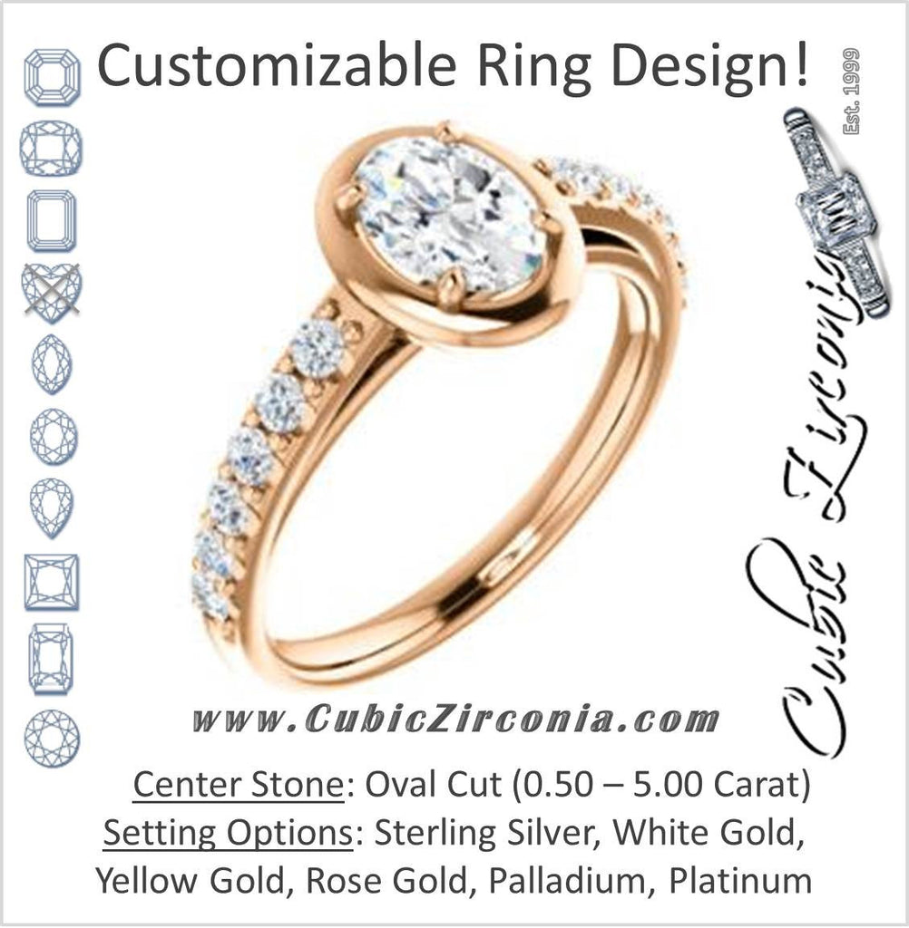 Cubic Zirconia Engagement Ring- The Lynette (Customizable Cathedral-style Bezel-set Oval Cut 13-stone Design with Round Band Accents)