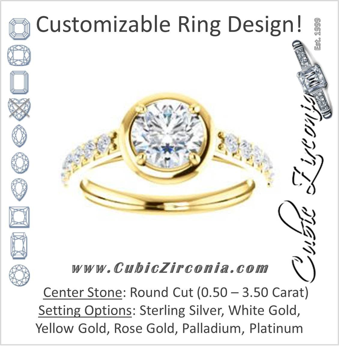 1a3fc8955f35c Cubic Zirconia Engagement Ring- The Lynette (Customizable Cathedral-style  Bezel-set Round Cut 13-stone Design with Round Band Accents)