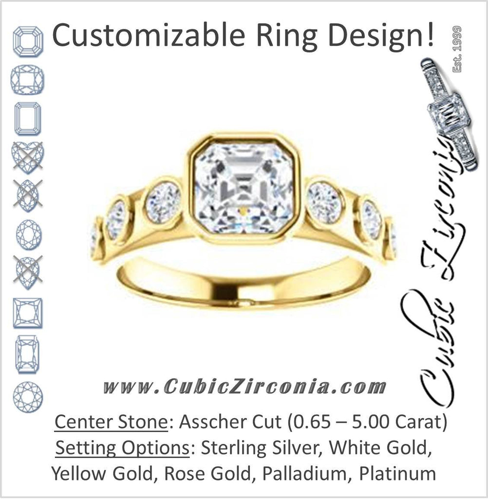 Cubic Zirconia Engagement Ring- The Mabel (Customizable Asscher Cut 7-stone Design with Journey-style Round Bezel Band Accents)
