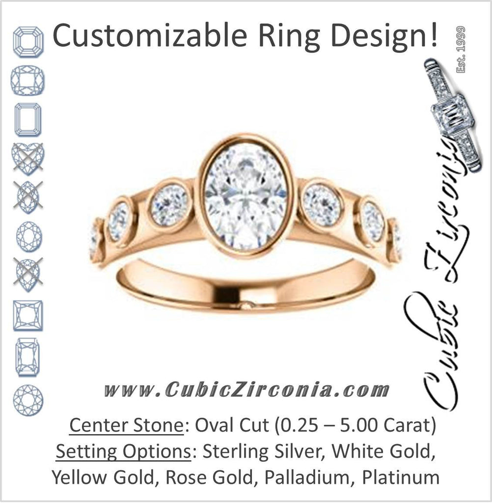 Cubic Zirconia Engagement Ring- The Mabel (Customizable Oval Cut 7-stone Design with Journey-style Round Bezel Band Accents)