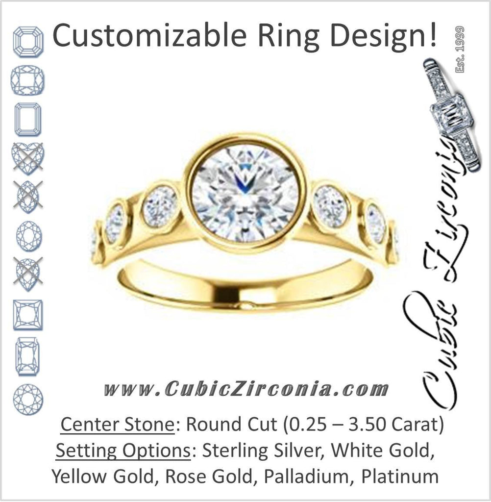 Cubic Zirconia Engagement Ring- The Mabel (Customizable Round Cut 7-stone Design with Journey-style Round Bezel Band Accents)