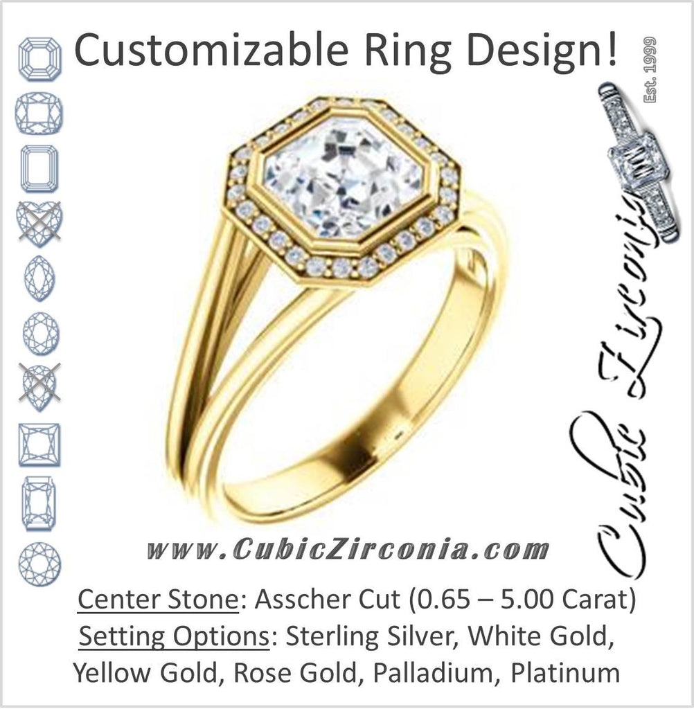 Cubic Zirconia Engagement Ring- The Mackenzie (Customizable Asscher Cut Bezel-set Split band with Halo)