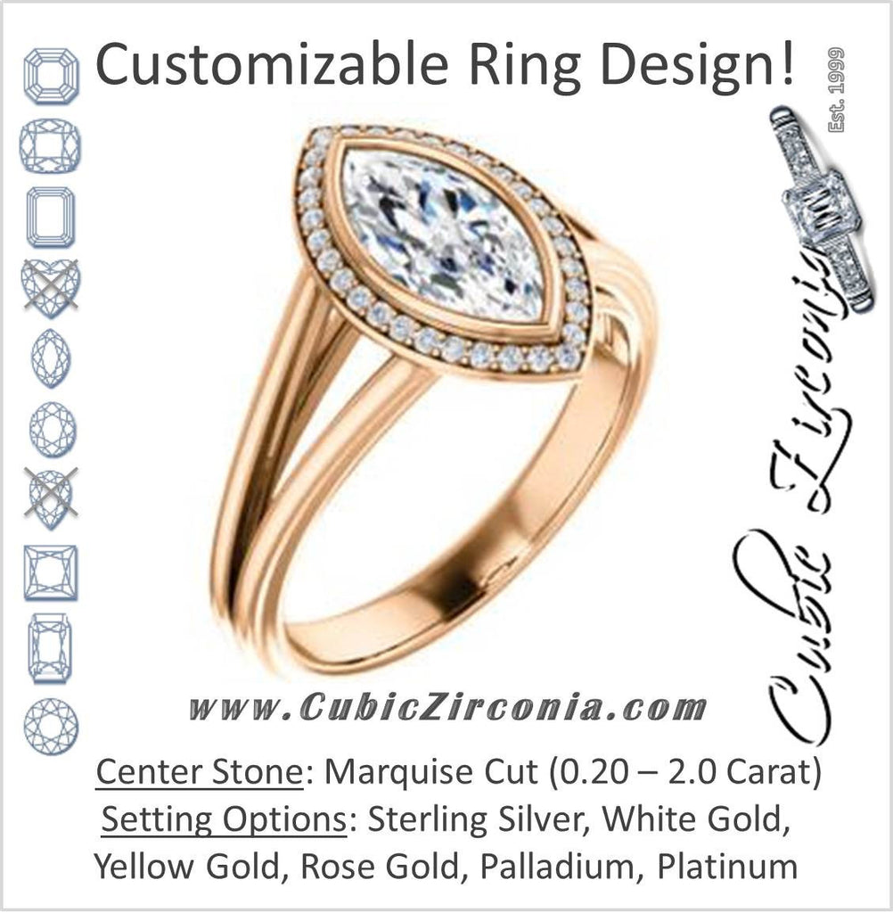 Cubic Zirconia Engagement Ring- The Mackenzie (Customizable Marquise Cut Bezel-set Split band with Halo)