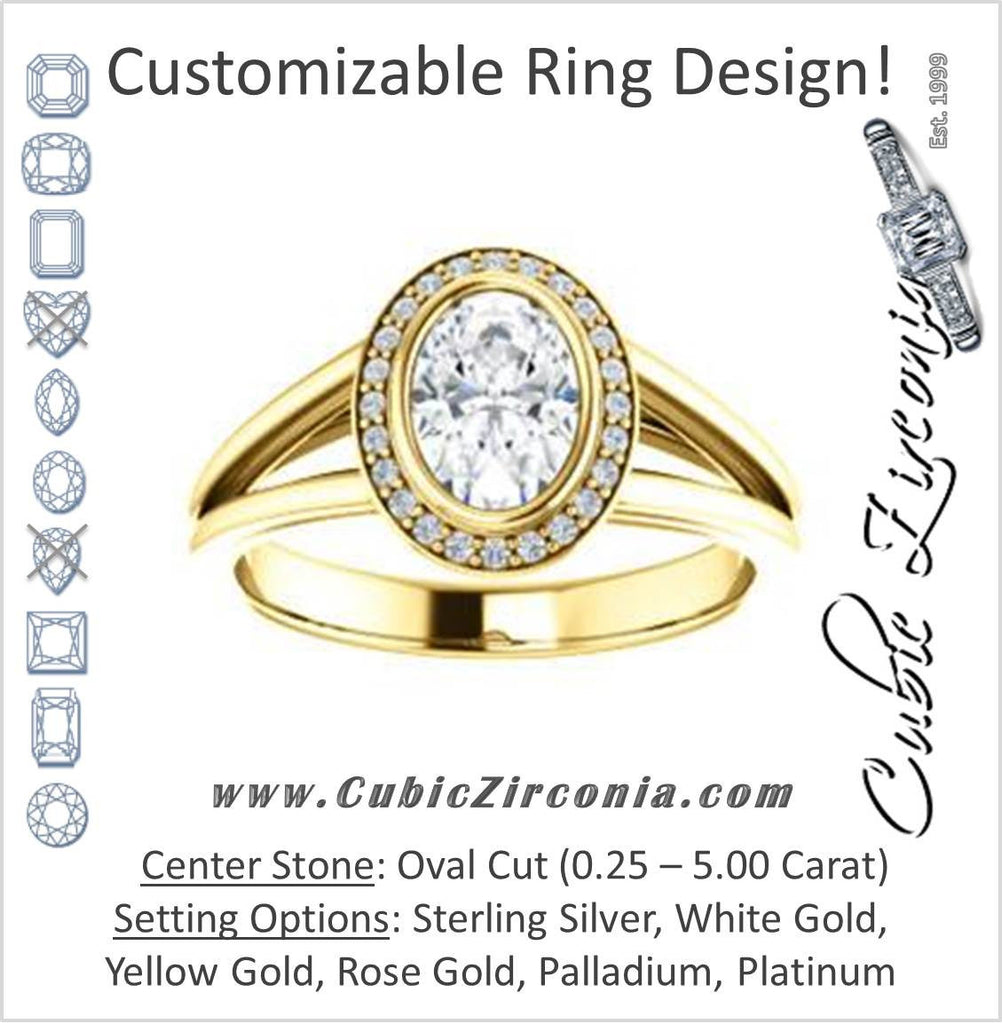 Cubic Zirconia Engagement Ring- The Mackenzie (Customizable Oval Cut Bezel-set Split band with Halo)