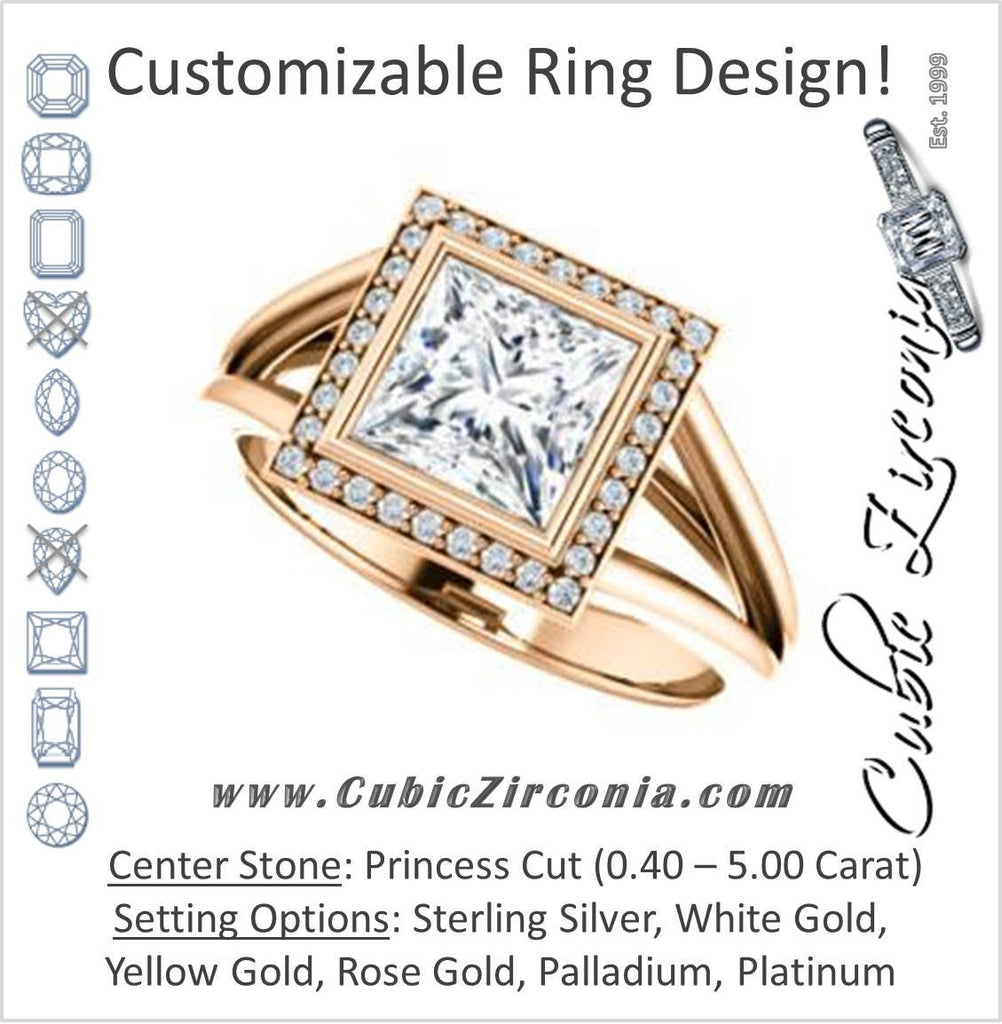 Cubic Zirconia Engagement Ring- The Mackenzie (Customizable Princess Cut Bezel-set Split band with Halo)