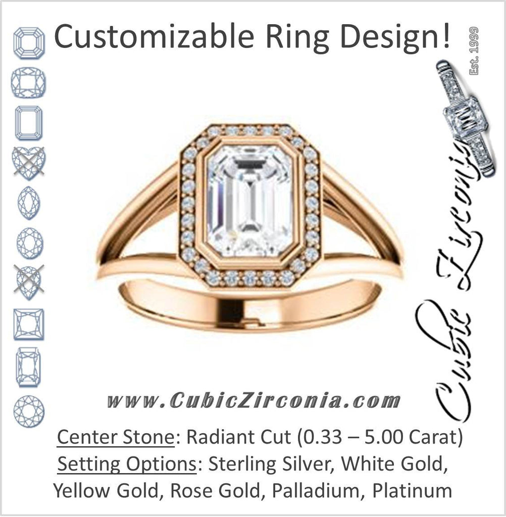 Cubic Zirconia Engagement Ring- The Mackenzie (Customizable Radiant Cut Bezel-set Split band with Halo)