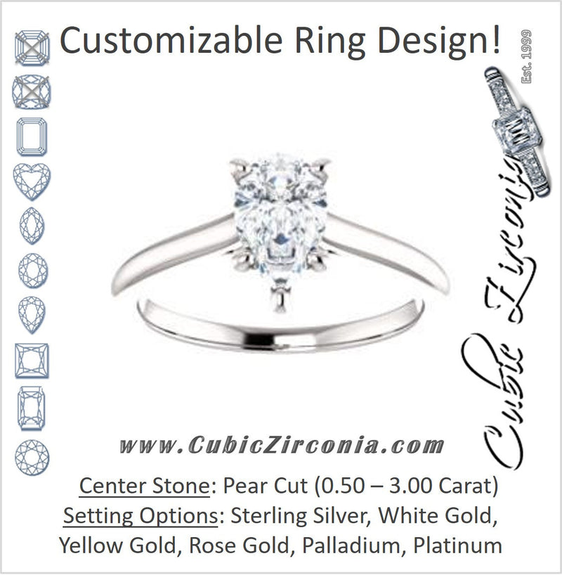 Cubic Zirconia Engagement Ring- The Madelyn (Customizable Pear Cut Solitaire with Infinity Trellis Decoration)
