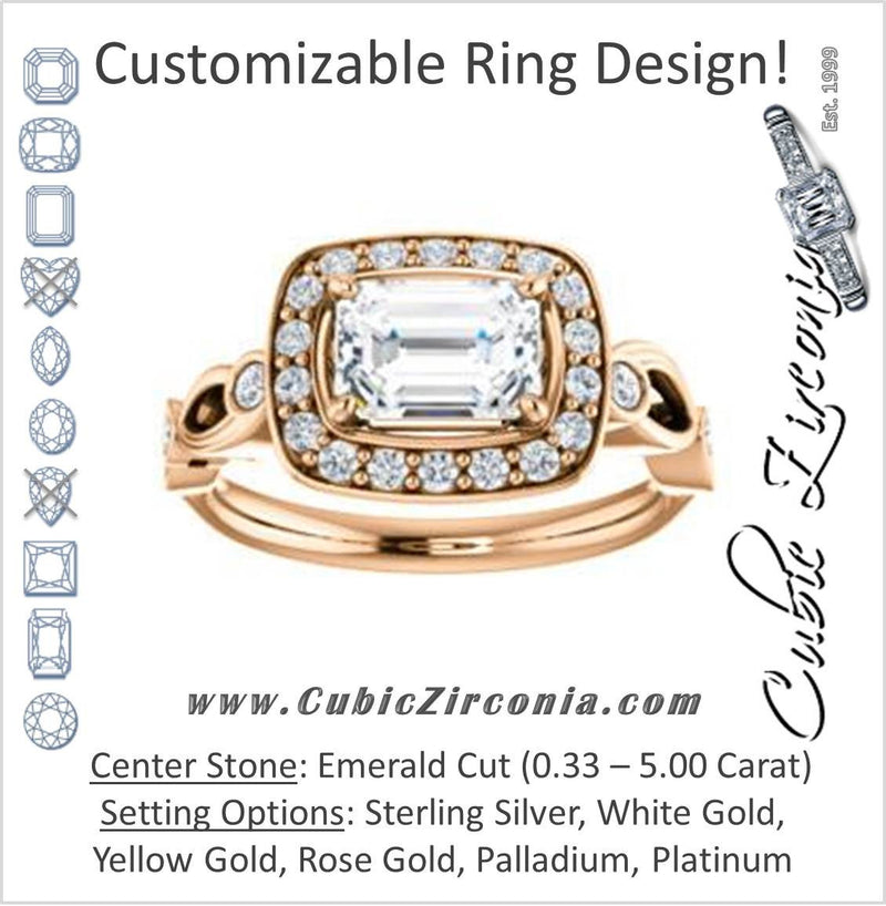 Cubic Zirconia Engagement Ring- The Madison (Customizable Emerald Cut Design with Halo and Bezel-Accented Infinity-inspired Split Band)