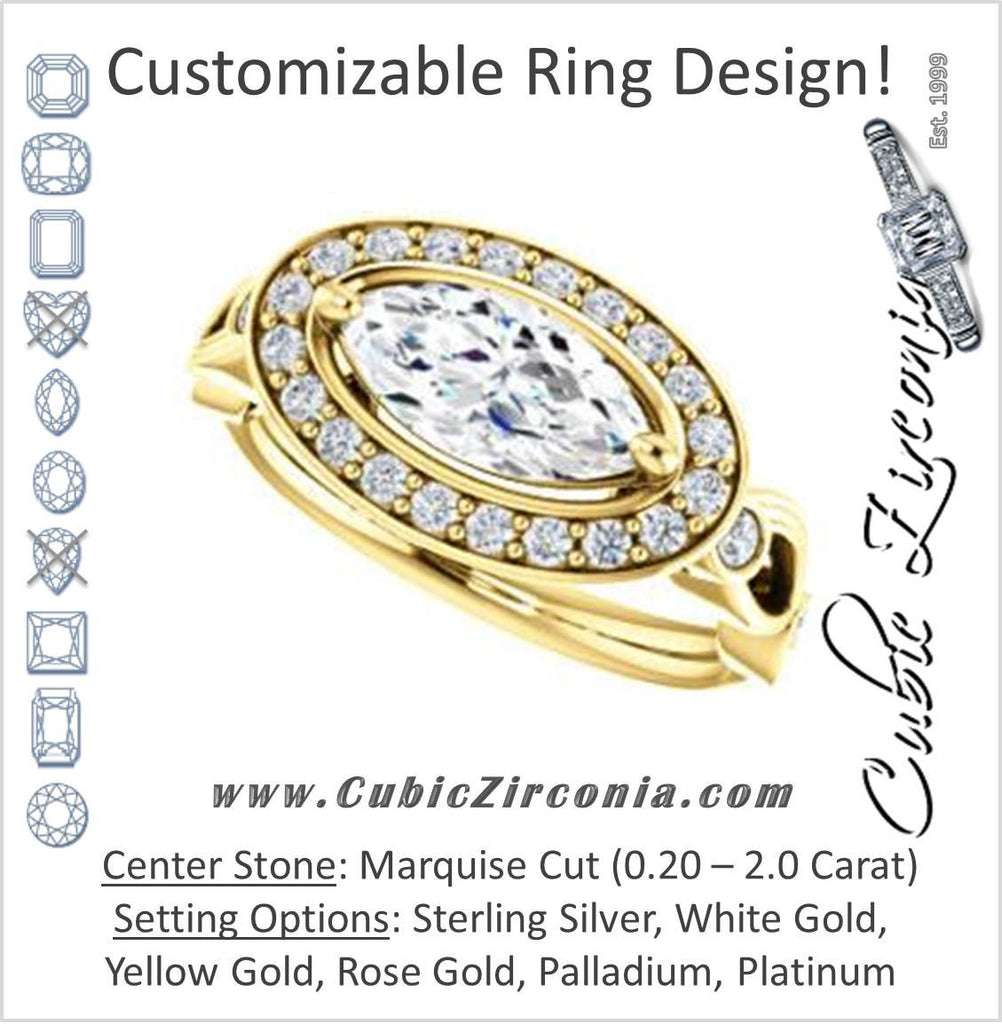Cubic Zirconia Engagement Ring- The Madison (Customizable Marquise Cut Design with Halo and Bezel-Accented Infinity-inspired Split Band)