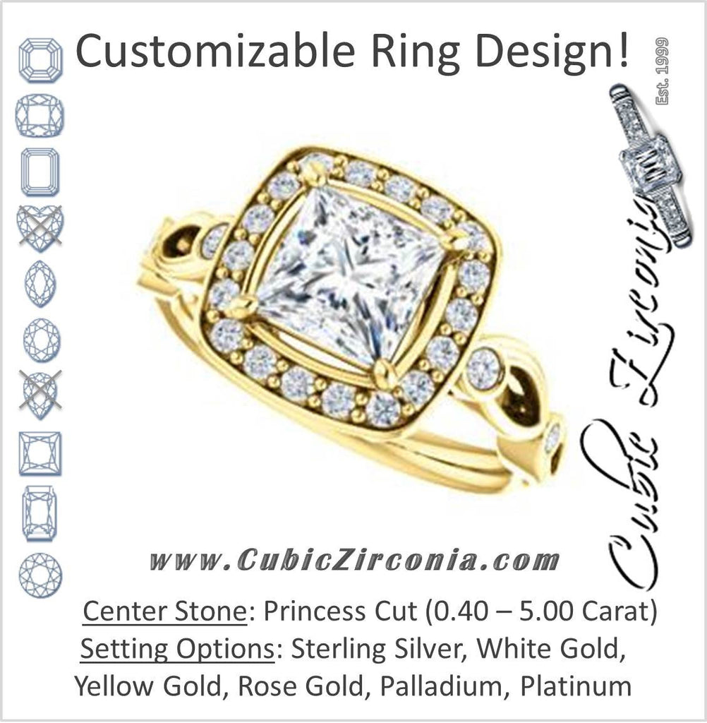 Cubic Zirconia Engagement Ring- The Madison (Customizable Princess Cut Design with Halo and Bezel-Accented Infinity-inspired Split Band)