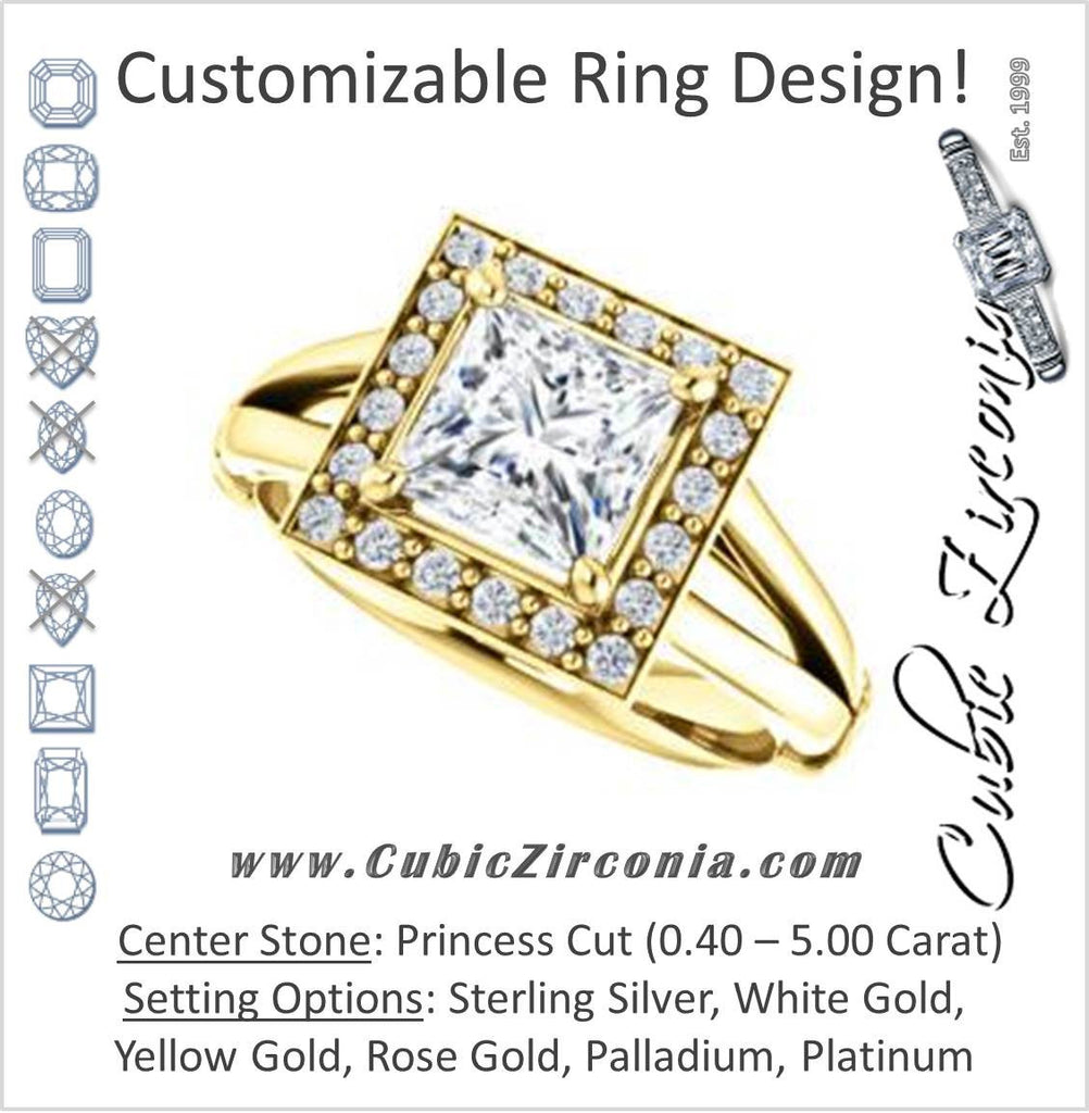 Cubic Zirconia Engagement Ring- The Madison Taylor (Customizable Princess Cut Halo Design with Split Band and Dual Round Side-Knuckle Accents)