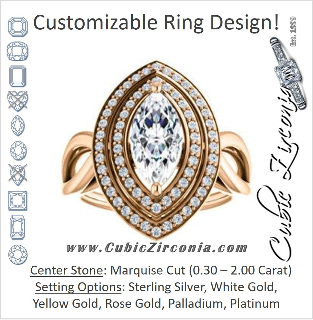 Cubic Zirconia Engagement Ring- The Magda Lesli (Customizable Double-Halo Style Marquise Cut with Curving Split Band)