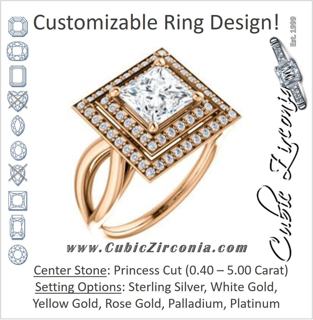 Cubic Zirconia Engagement Ring- The Magda Lesli (Customizable Double-Halo Style Princess Cut with Curving Split Band)