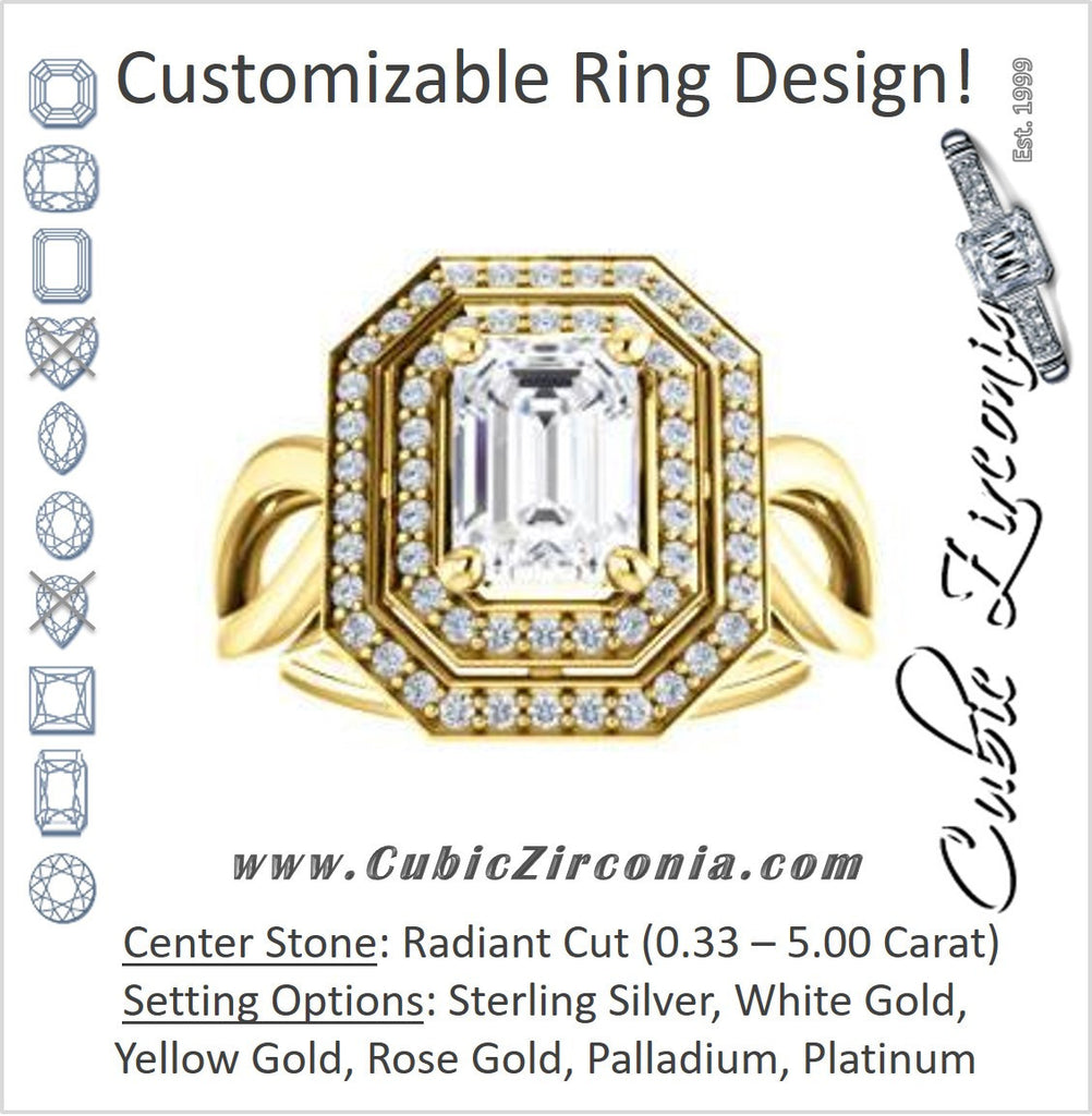 Cubic Zirconia Engagement Ring- The Magda Lesli (Customizable Double-Halo Style Radiant Cut with Curving Split Band)