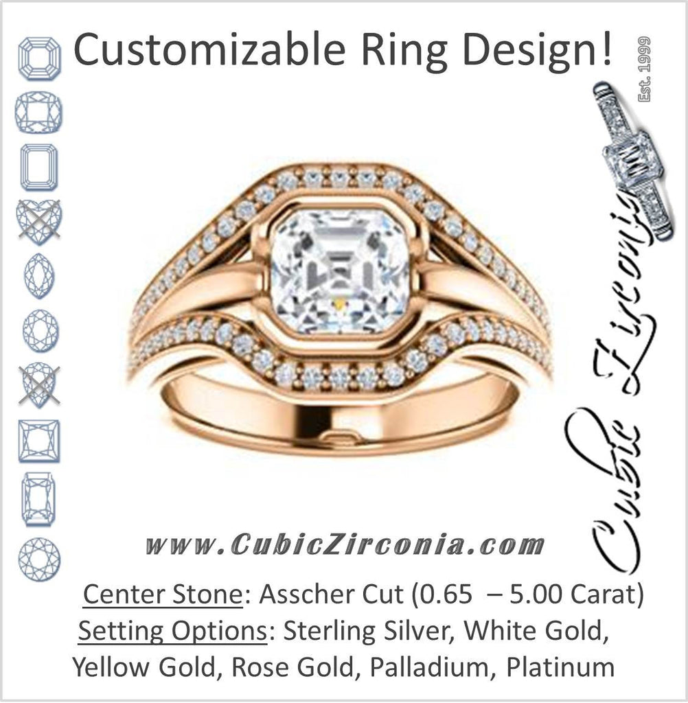 Cubic Zirconia Engagement Ring- The Magdalena Oha (Customizable Bezel-set Asscher Cut Style with Wide Tri-split Pavé Band)