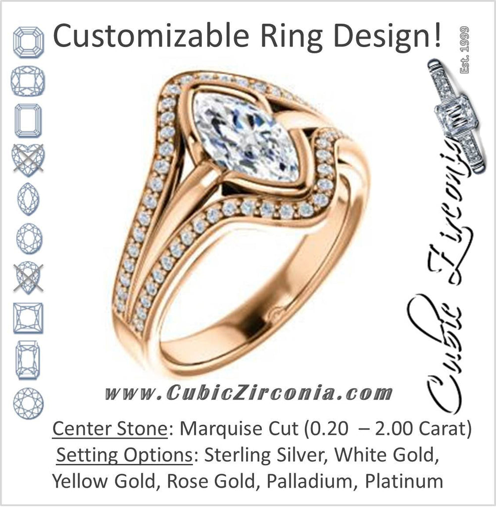 Cubic Zirconia Engagement Ring- The Magdalena Oha (Customizable Bezel-set Marquise Cut Style with Wide Tri-split Pavé Band)