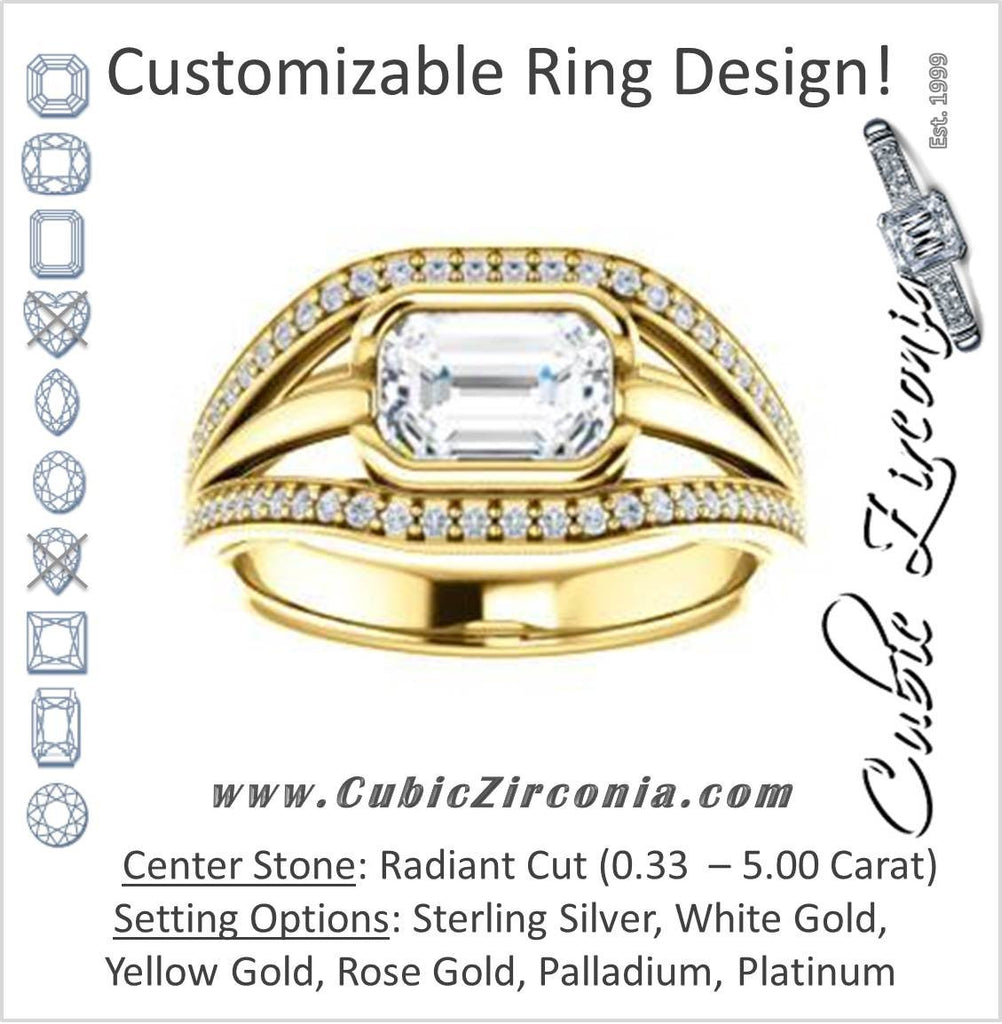 Cubic Zirconia Engagement Ring- The Magdalena Oha (Customizable Bezel-set Radiant Cut Style with Wide Tri-split Pavé Band)