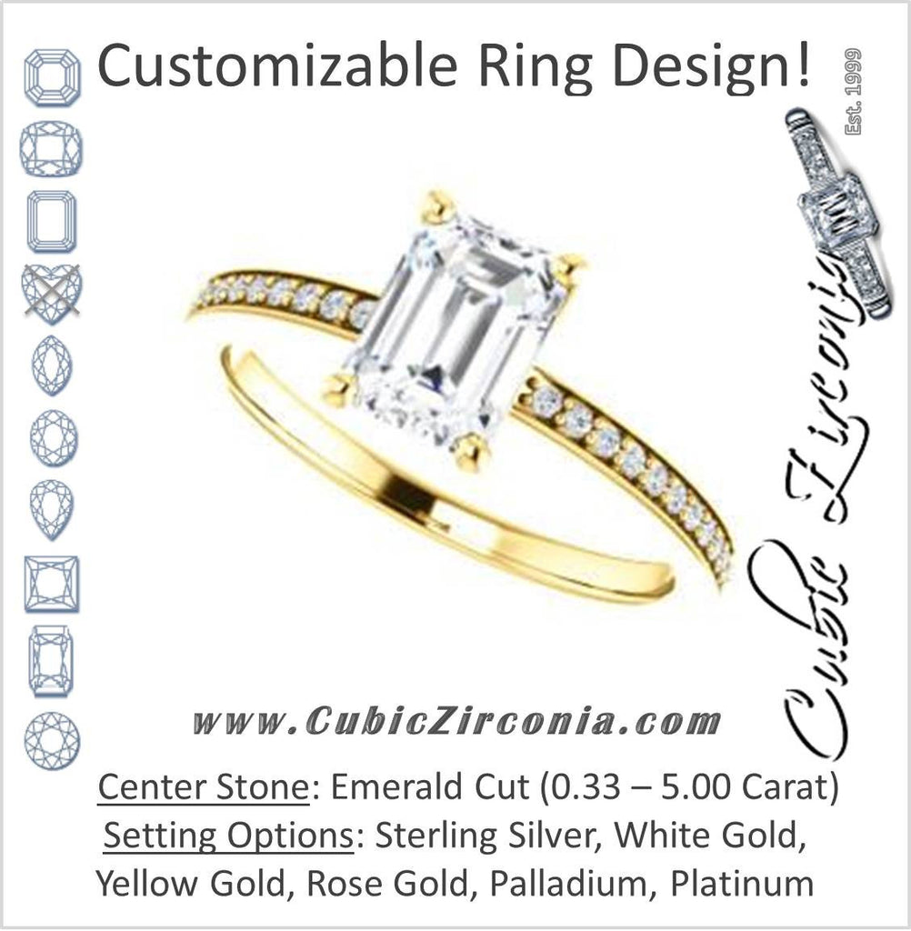 Cubic Zirconia Engagement Ring- The Majo Jimena (Customizable Emerald Cut Design with Thin Pavé Band)