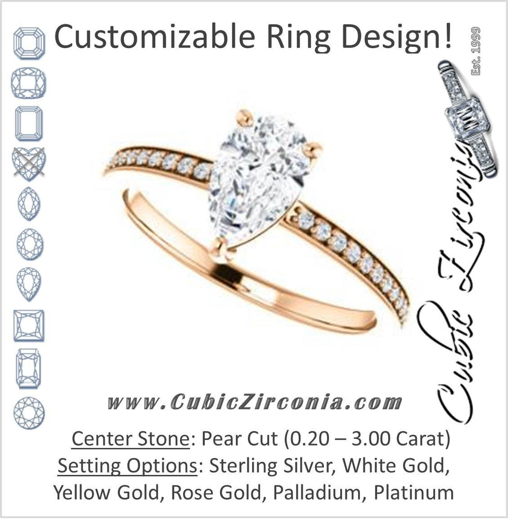 Cubic Zirconia Engagement Ring- The Majo Jimena (Customizable Pear Cut Design with Thin Pavé Band)