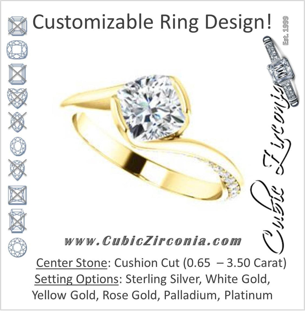 Cubic Zirconia Engagement Ring- The Marcia (Customizable Bezel-set Cushion Cut Bypass Design with 3-sided Mobius-inspired Split-Pavé Band)
