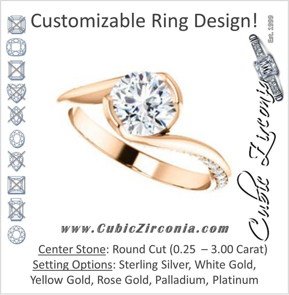 Cubic Zirconia Engagement Ring- The Marcia (Customizable Bezel-set Round Cut Bypass Design with 3-sided Mobius-inspired Split-Pavé Band)