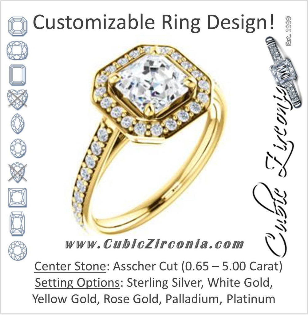 Cubic Zirconia Engagement Ring- The Margie Mae (Customizable Asscher Cut Halo-Style with Pavé Band)