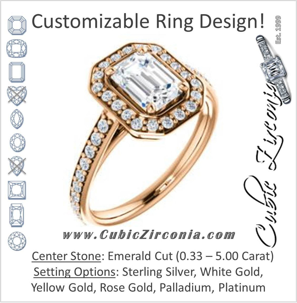 Cubic Zirconia Engagement Ring- The Margie Mae (Customizable Emerald Cut Halo-Style with Pavé Band)