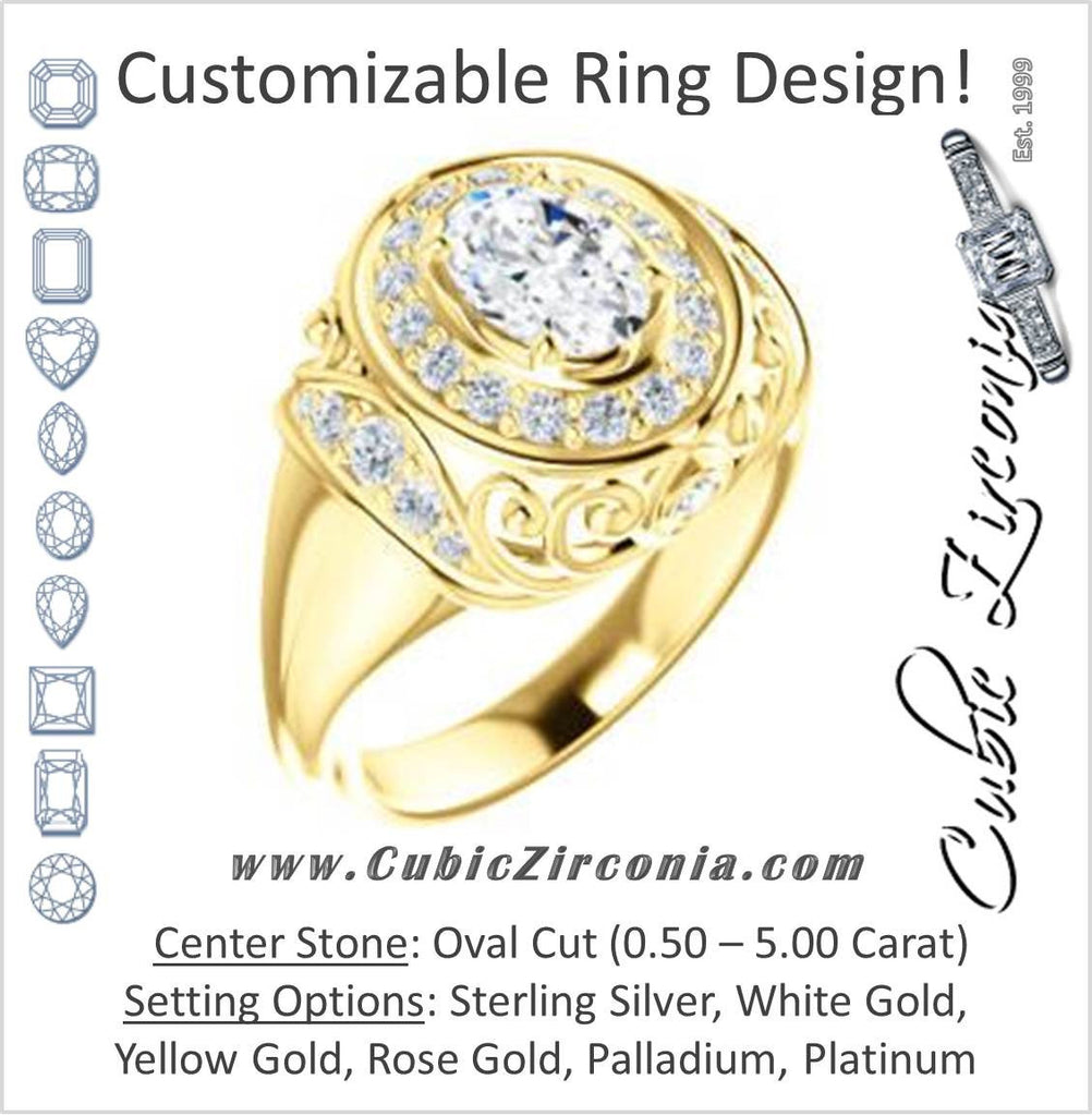 Cubic Zirconia Engagement Ring- The Mariah (Oval Center Halo-Style Lattice with Accented Step-Setting)