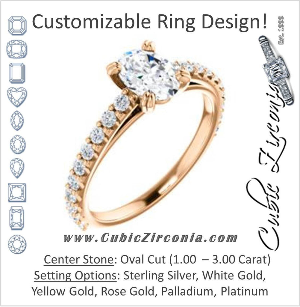 Cubic Zirconia Engagement Ring- The Marianne (Customizable Cathedral-set Oval Cut Style with Thin Pavé Band)