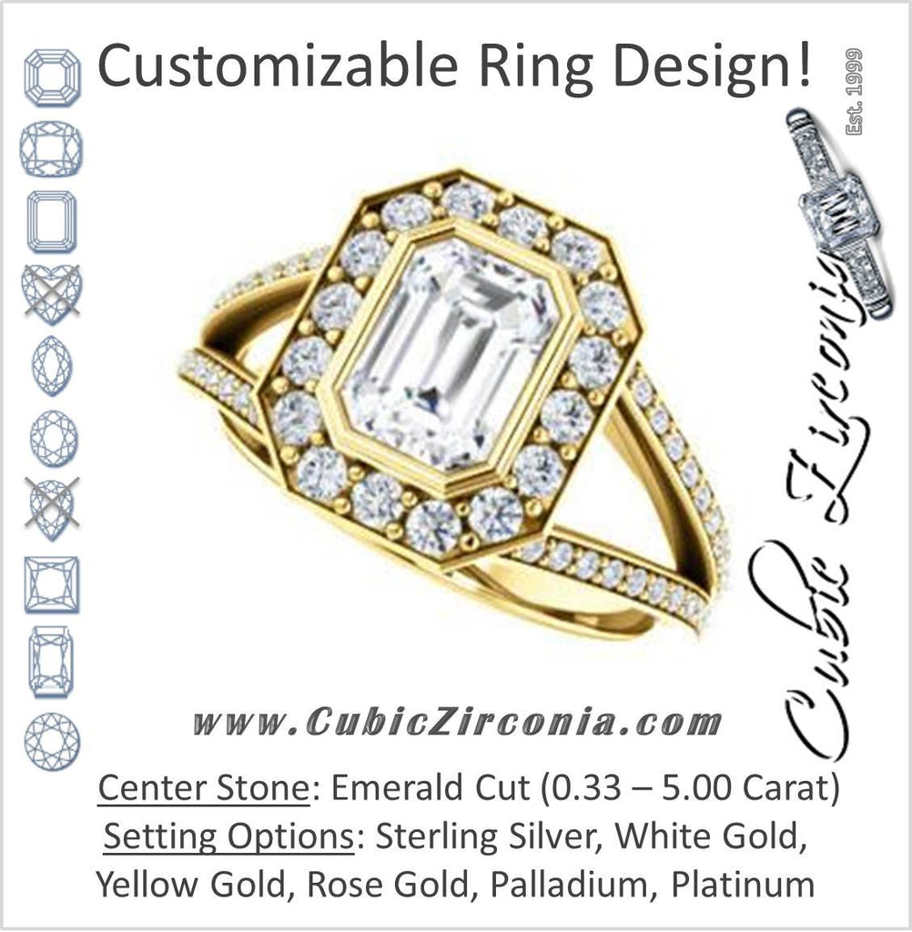 Cubic Zirconia Engagement Ring- The Maricela (Customizable Bezel-Halo Emerald Cut Ring with Wide Tapered Pavé Split Band & Decorative Trellis)