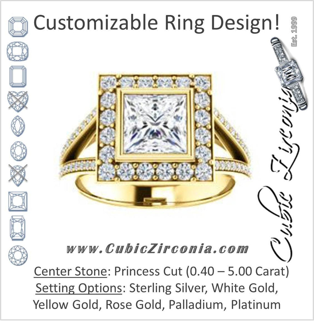 Cubic Zirconia Engagement Ring- The Maricela (Customizable Bezel-Halo Princess Cut Ring with Wide Tapered Pavé Split Band & Decorative Trellis)