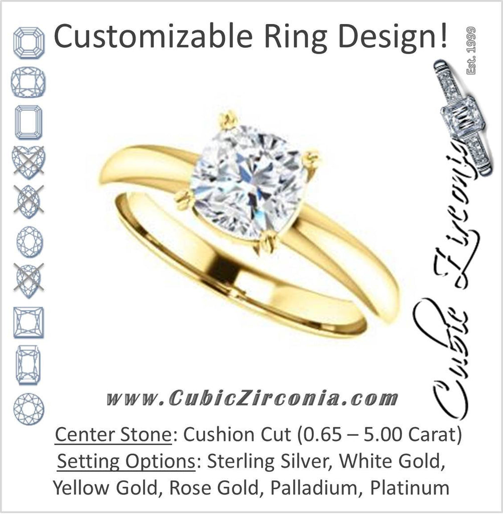 Cubic Zirconia Engagement Ring- The Marie Rosalind (Customizable Cushion Cut Solitaire with Tooled Trellis Design)