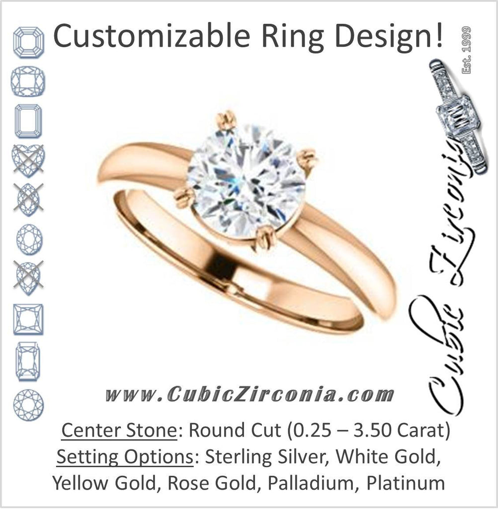 Cubic Zirconia Engagement Ring- The Marie Rosalind (Customizable Round Cut Solitaire with Tooled Trellis Design)