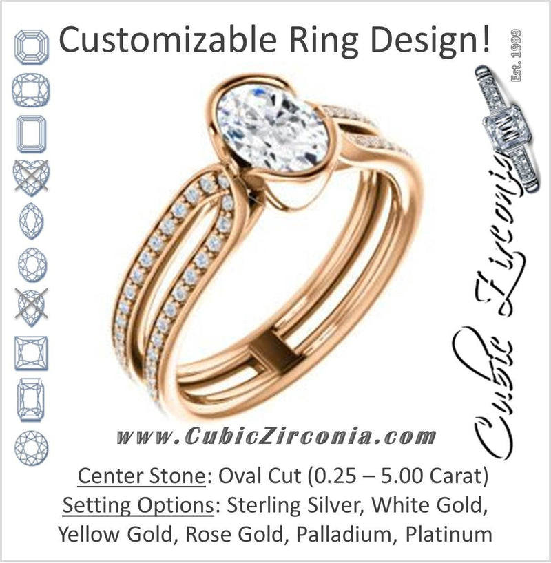 Cubic Zirconia Engagement Ring- The Mariela (Customizable Cathedral-Bezel Oval Cut Style with Wide Straight Split-Pavé Band)