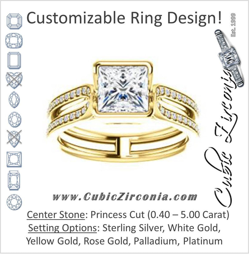 Cubic Zirconia Engagement Ring- The Mariela (Customizable Cathedral-Bezel Princess Cut Style with Wide Straight Split-Pavé Band)