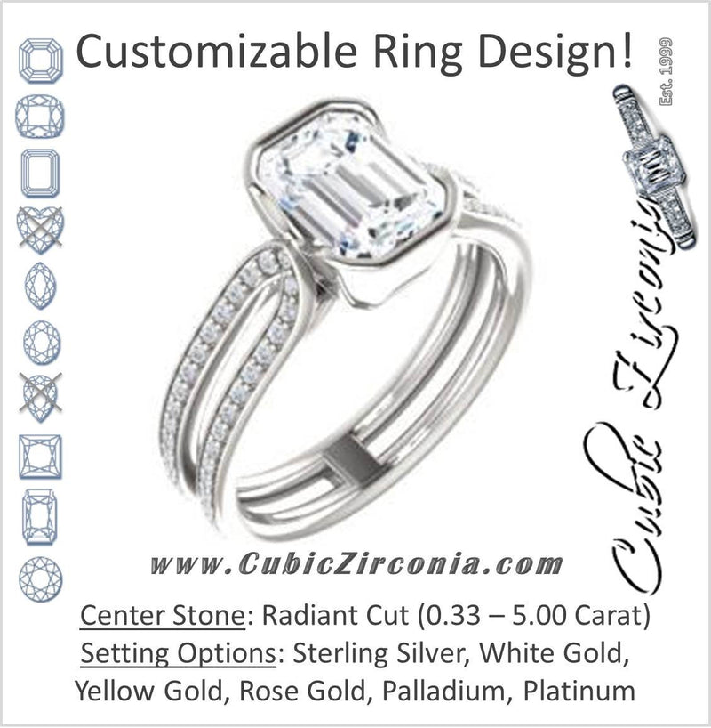Cubic Zirconia Engagement Ring- The Mariela (Customizable Cathedral-Bezel Radiant Cut Style with Wide Straight Split-Pavé Band)