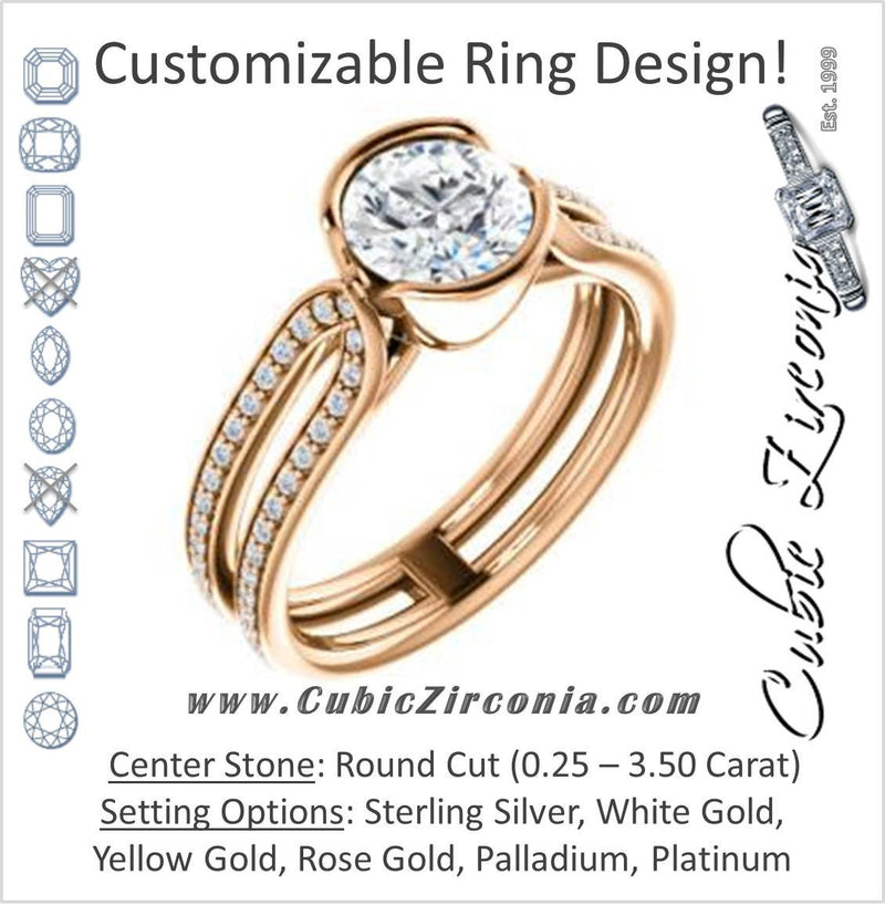 Cubic Zirconia Engagement Ring- The Mariela (Customizable Cathedral-Bezel Round Cut Style with Wide Straight Split-Pavé Band)
