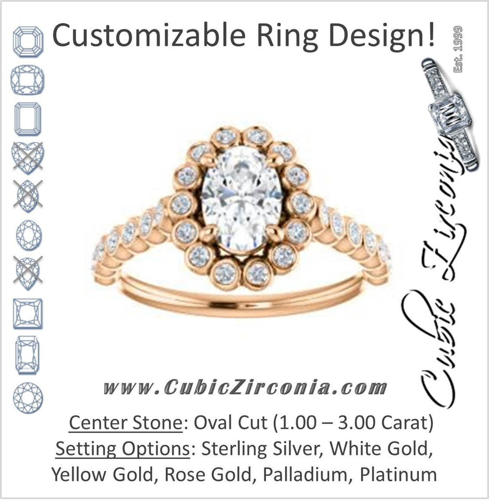 Cubic Zirconia Engagement Ring- The Maritere (Customizable Oval Cut style with Round-Bezel Floral Halo and Accented Band)