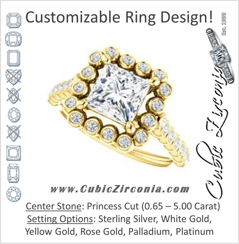 Cubic Zirconia Engagement Ring- The Maritere (Customizable Princess Cut style with Round-Bezel Floral Halo and Accented Band)