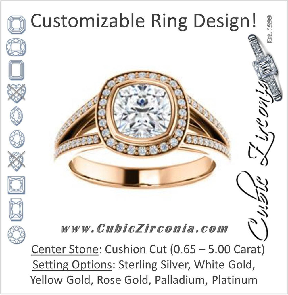 Cubic Zirconia Engagement Ring- The Maritza (Customizable Bezel-Halo Cushion Cut Style with Pavé Split Band & Euro Shank)