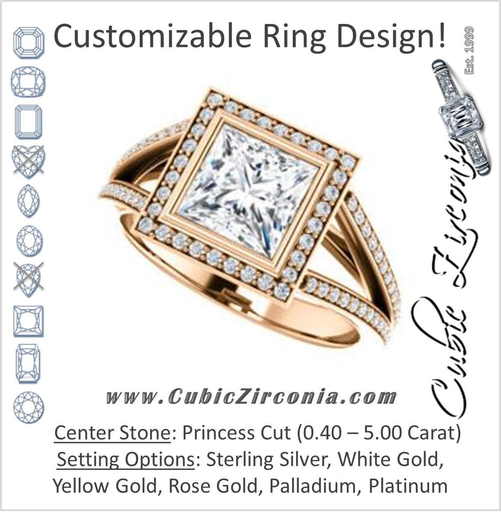 Cubic Zirconia Engagement Ring- The Maritza (Customizable Bezel-Halo Princess Cut Style with Pavé Split Band & Euro Shank)