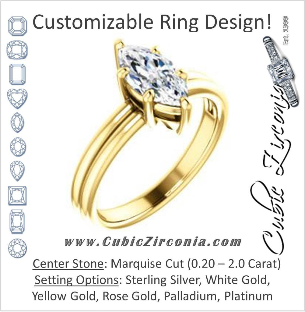 Cubic Zirconia Engagement Ring- The Marnie (Customizable Marquise Cut Solitaire with Grooved Band)