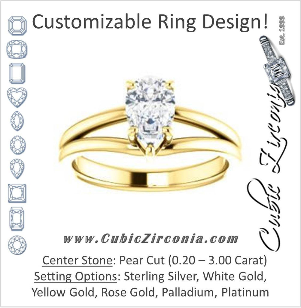 Cubic Zirconia Engagement Ring- The Marnie (Customizable Pear Cut Solitaire with Grooved Band)