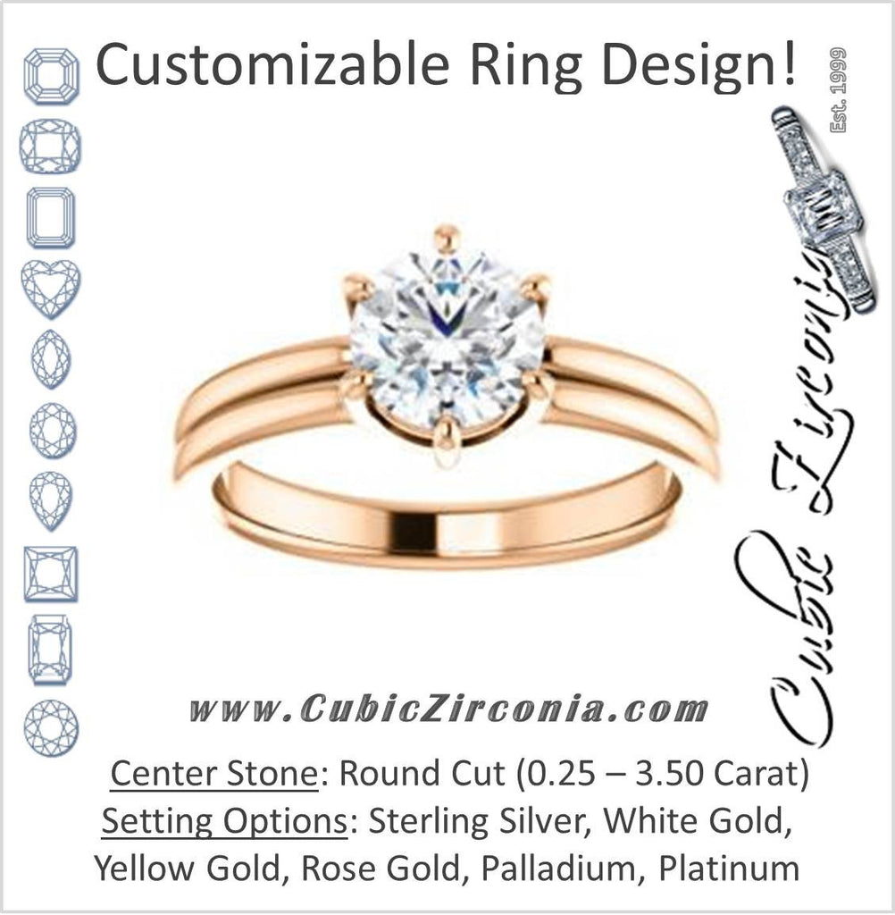 Cubic Zirconia Engagement Ring- The Marnie (Customizable Round Cut Solitaire with Grooved Band)