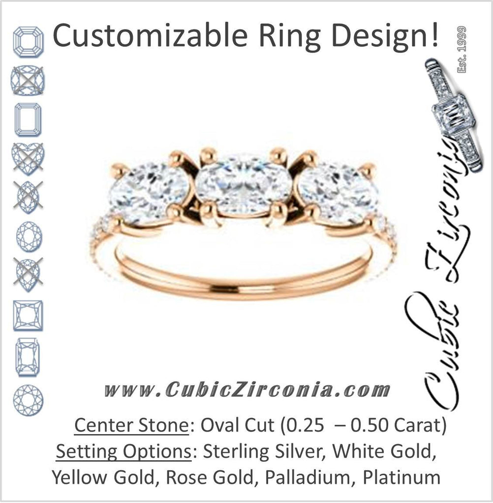Cubic Zirconia Engagement Ring- The Mary Helen (Customizable Triple Oval Cut Design with Ultra Thin Pavé Band)
