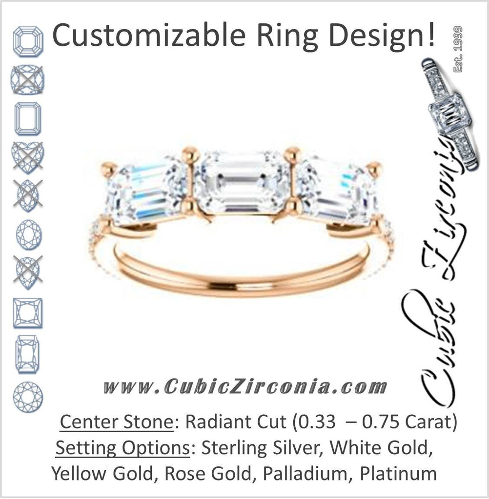 Cubic Zirconia Engagement Ring- The Mary Helen (Customizable Triple Radiant Cut Design with Ultra Thin Pavé Band)