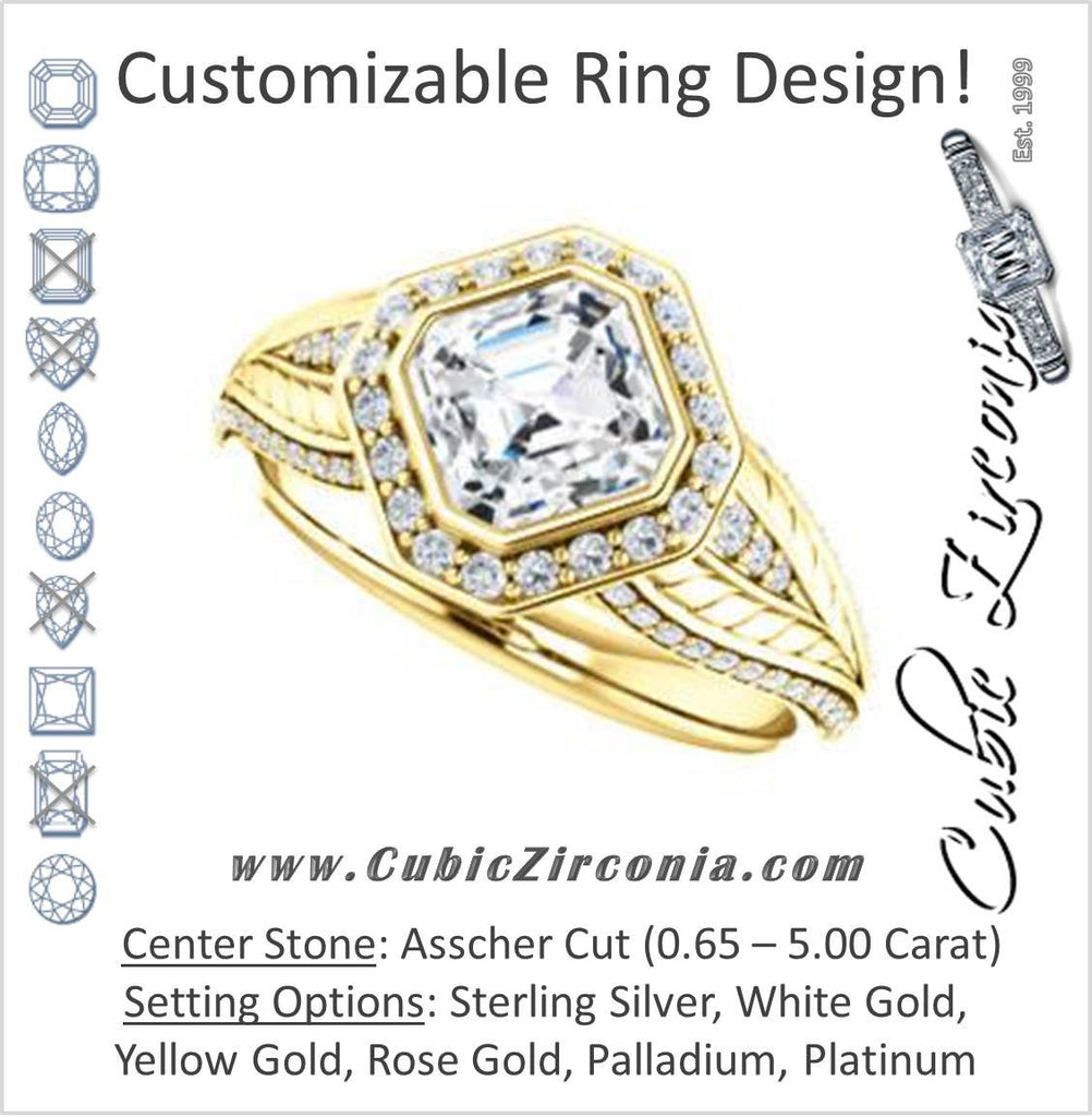 Cubic Zirconia Engagement Ring- The Mary Jane (Customizable Bezel-Halo Asscher Cut Design with Wide Filigree & Accent Band)