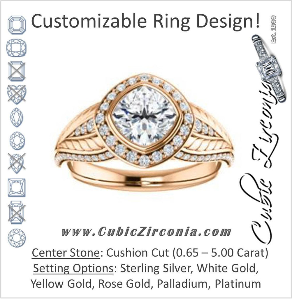 Cubic Zirconia Engagement Ring- The Mary Jane (Customizable Bezel-Halo Cushion Cut Design with Wide Filigree & Accent Band)